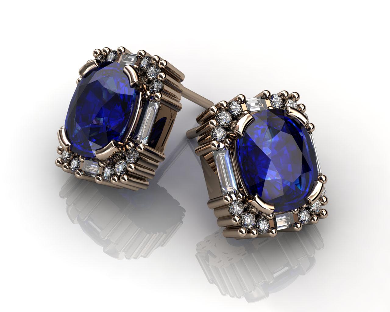 Blue Sapphire Amp Diamond Stud Earrings