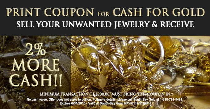 Selling Gold Jewelry Coupon Torrance - South Bay Gold - Compare Meridian Coin