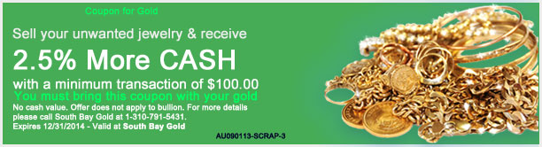 Selling Gold Jewelry Coupon Torrance South Bay Gold - Compare With Fast Fix