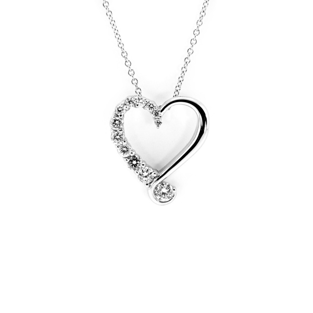 South Bay Gold Diamond Heart Pendant