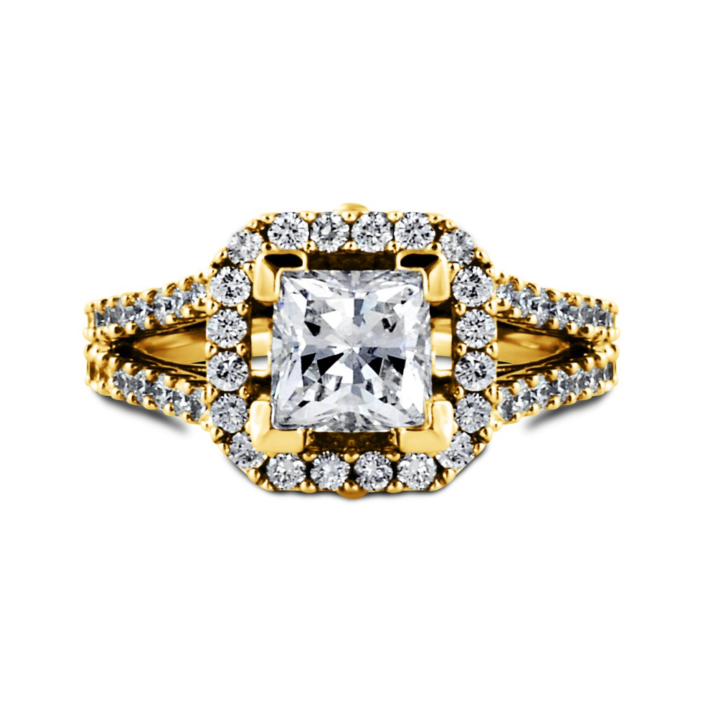 South Bay Gold Engagement Ring Princess Cut Diamond