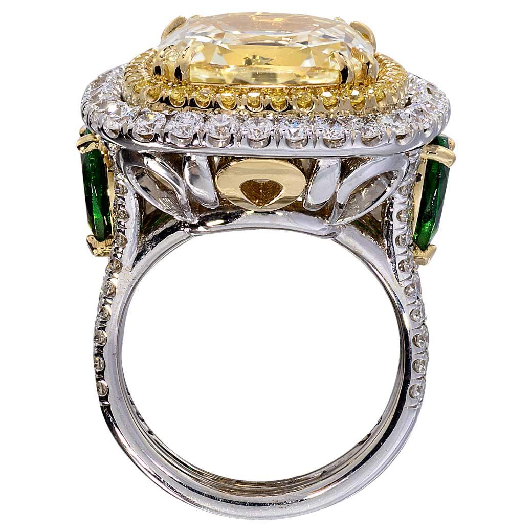Yellow Sapphire Tsavorites Diamonds Double Halo Two Tone Gold South Bay Gold - Torrance