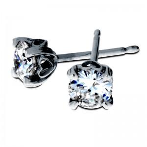 Round Diamond Studs-Heart Setting South bay Gold