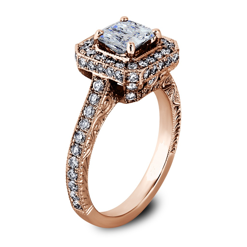 Princess Cut Diamond Octagon Halo Engagement Ring