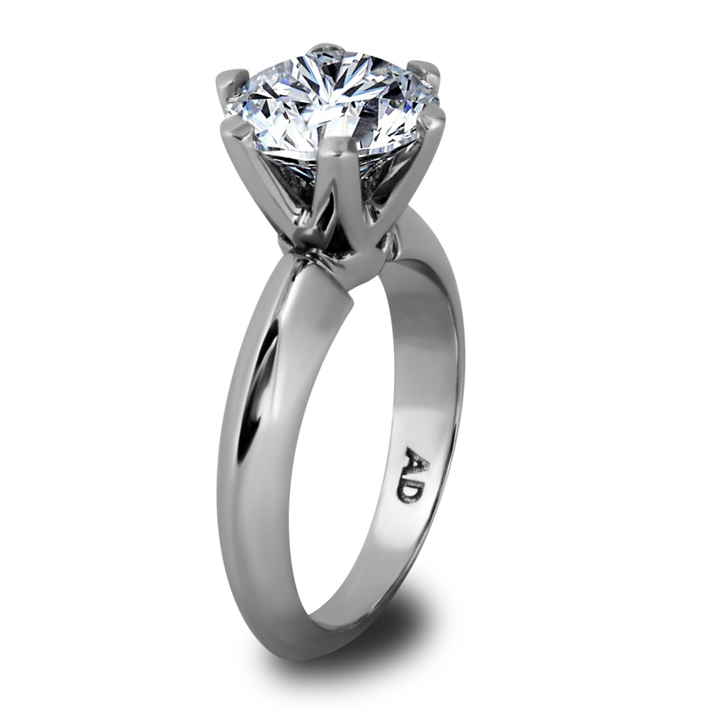 Round Cut Diamond Solitaire with 6 Prong Engagement Ring