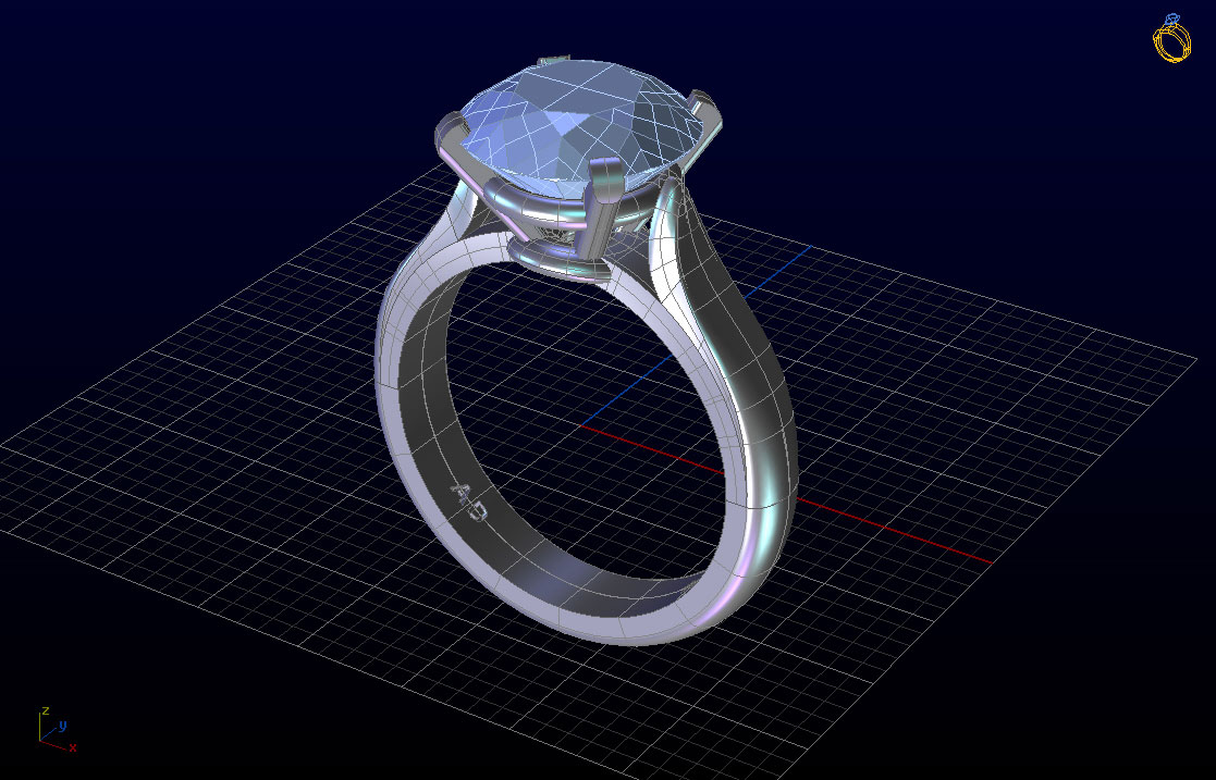 3D View Ring Custom Design Jewelry Engagement South Bay Gold