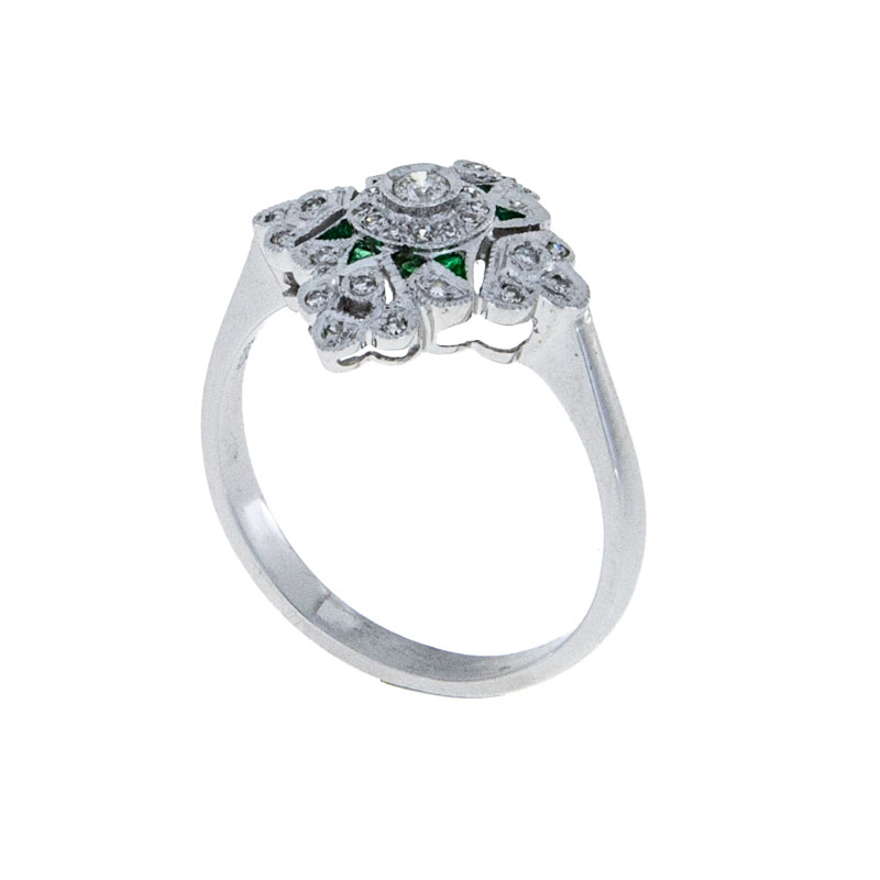Diamond and Emerald Vintage Engagement Ring - South Bay Gold