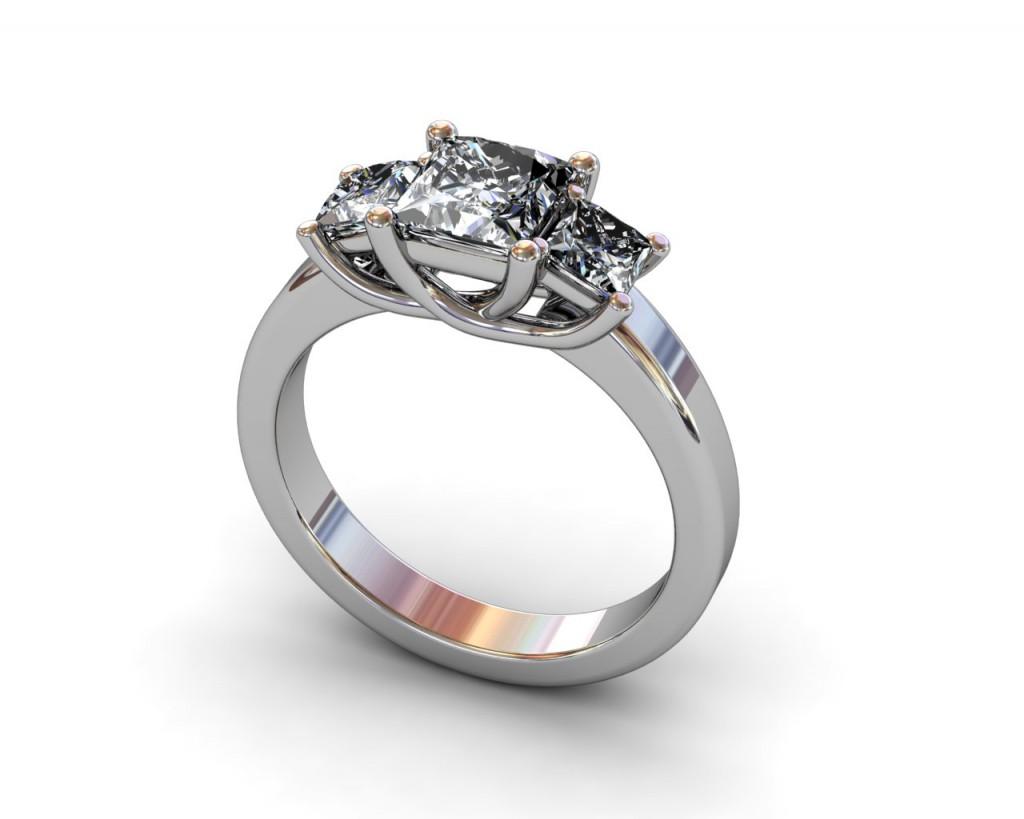 3 Stone Princess Cut Diamond Engagement Ring - South bay Golf - Torrance