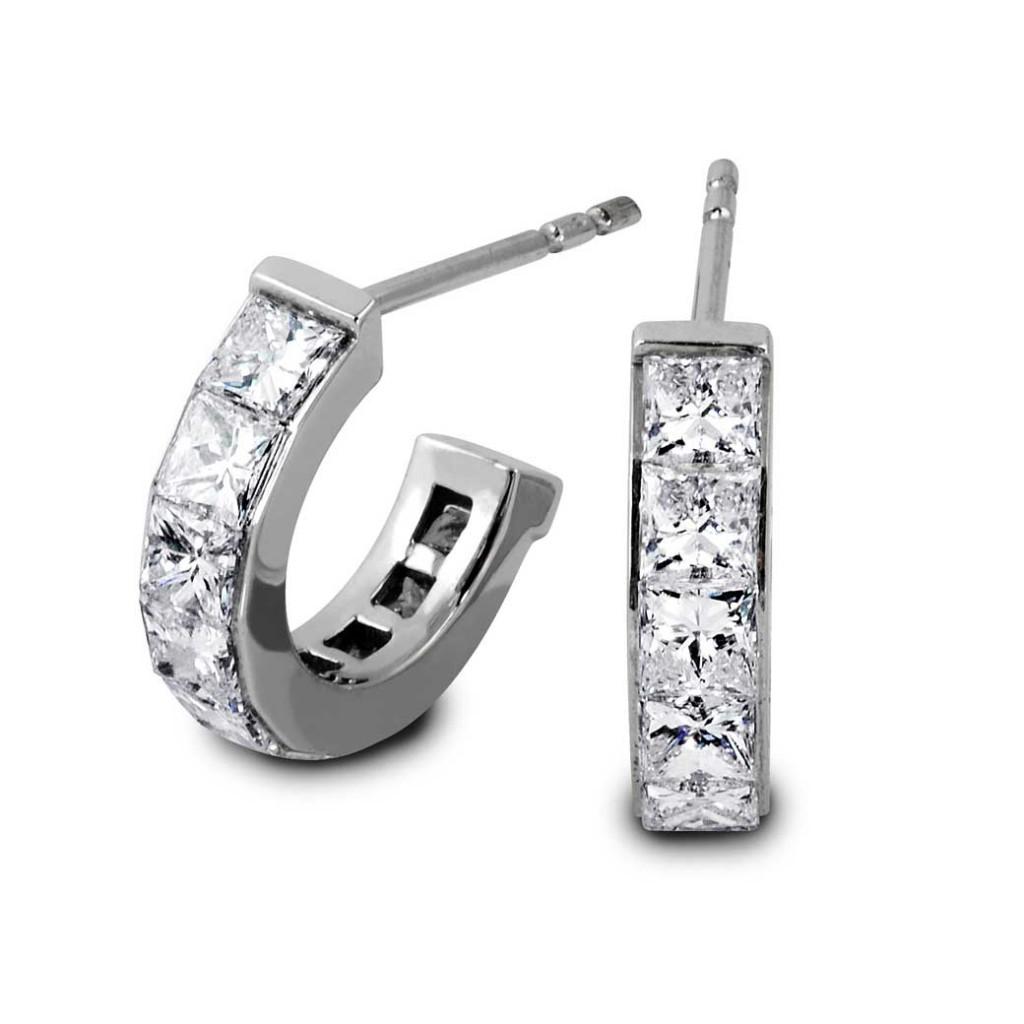 South Bay Gold Semi Huggies Princess Cut Diamond Earrings Torrance
