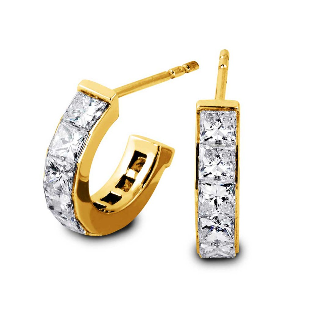 South Bay Gold South Bay Gold Semi Huggies Princess Cut Diamond Earrings-Torrance