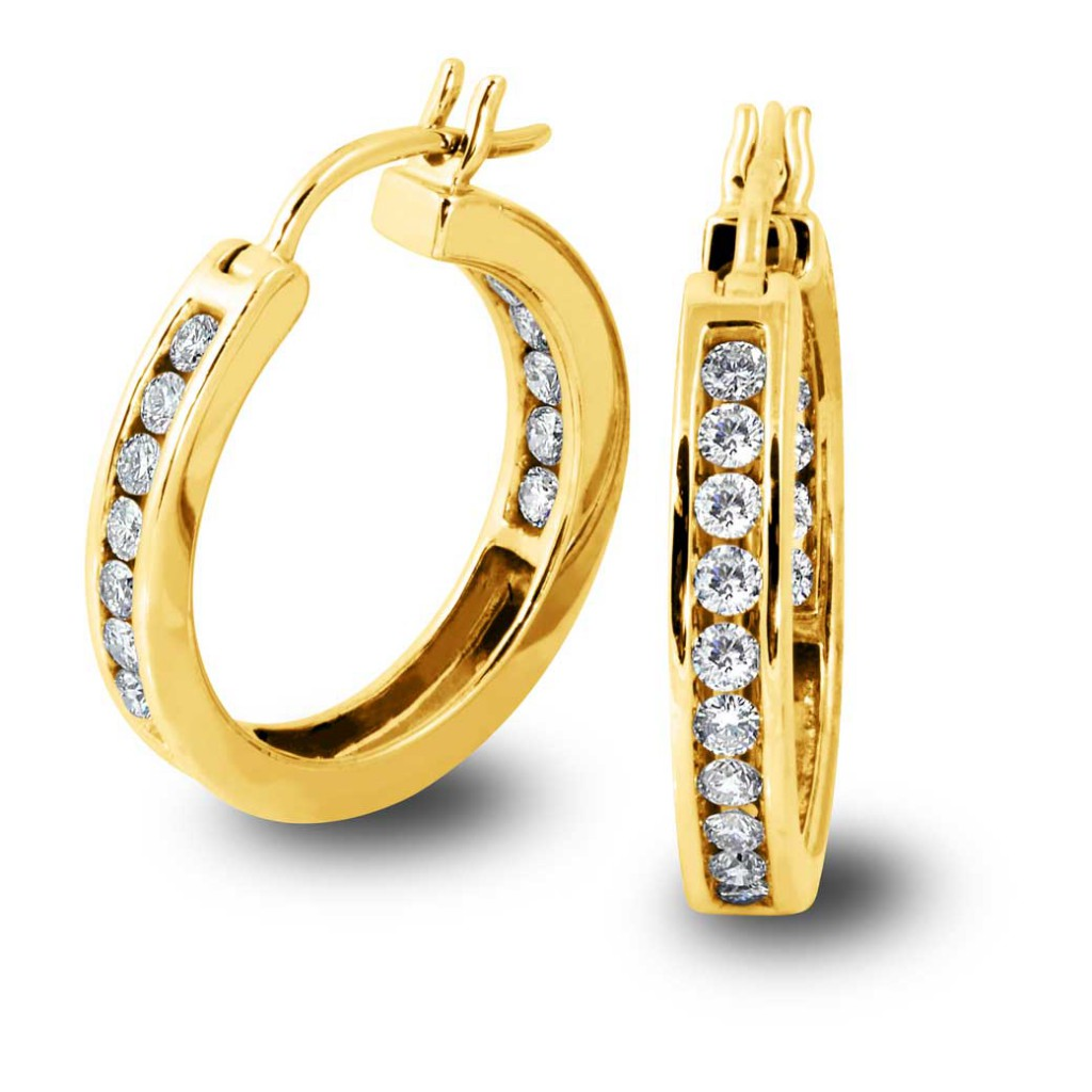 South Bay Gold Diamond Hoops on Gold - SBG Jewelry Stores Torrance