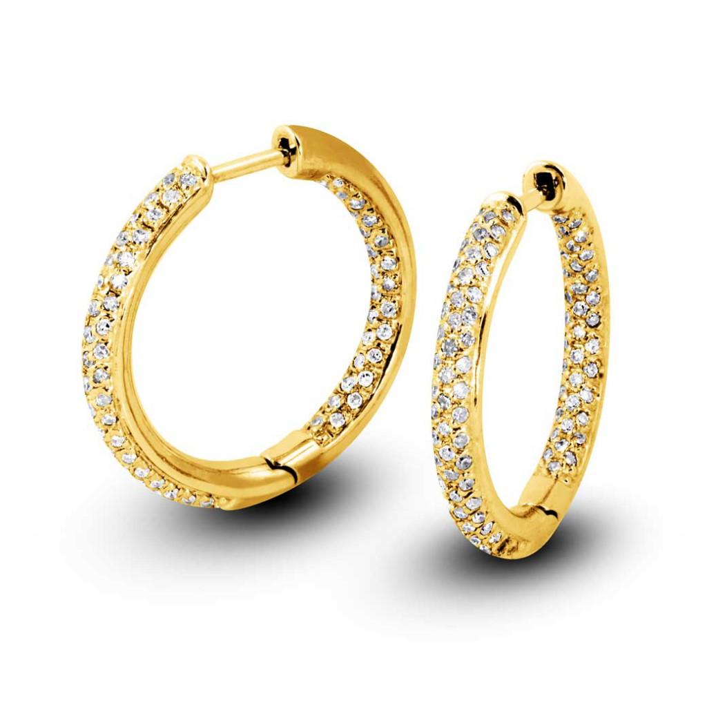 South Bay Gold 3-Row Pavé Diamonds Hoop Earrings-Torrance