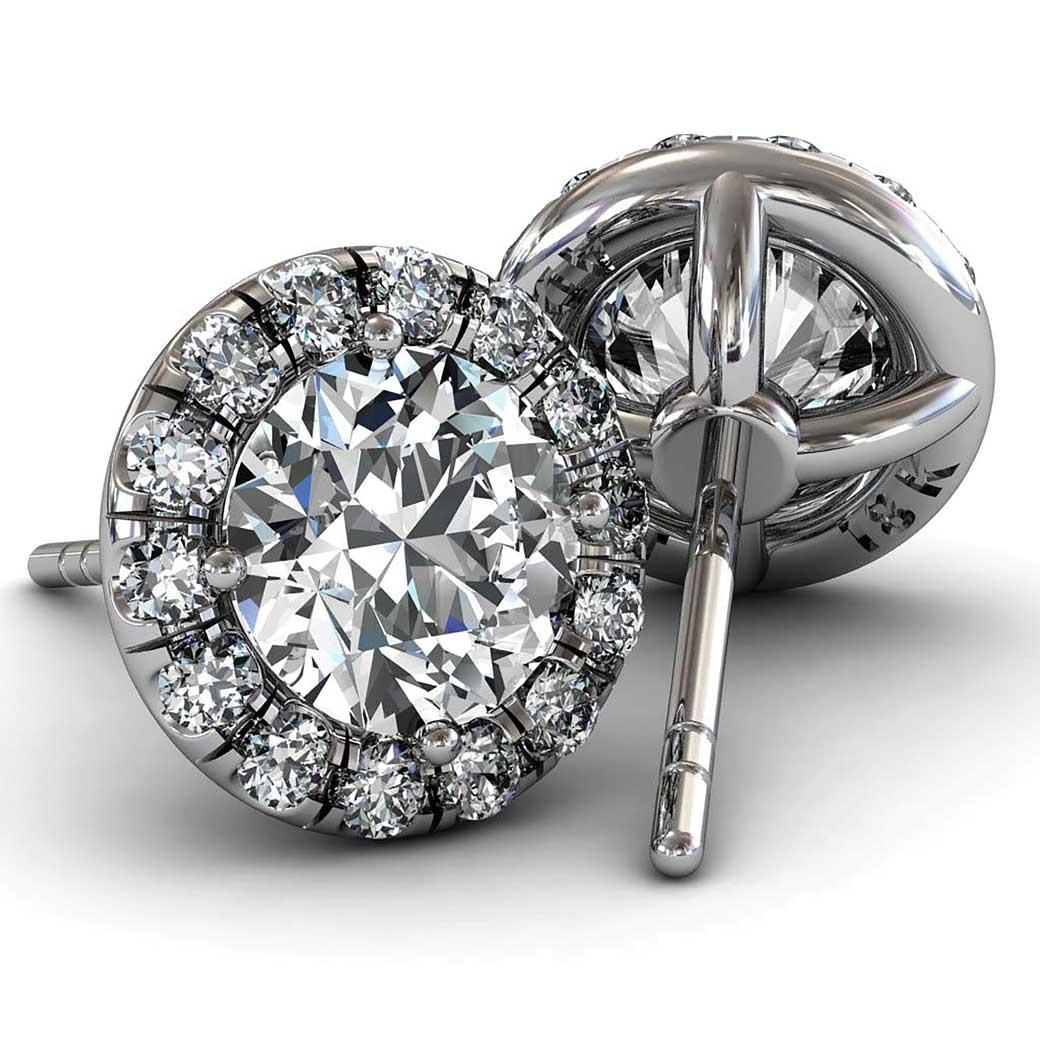 Classic U cut Halo Diamond Earrings - South Bay Gold