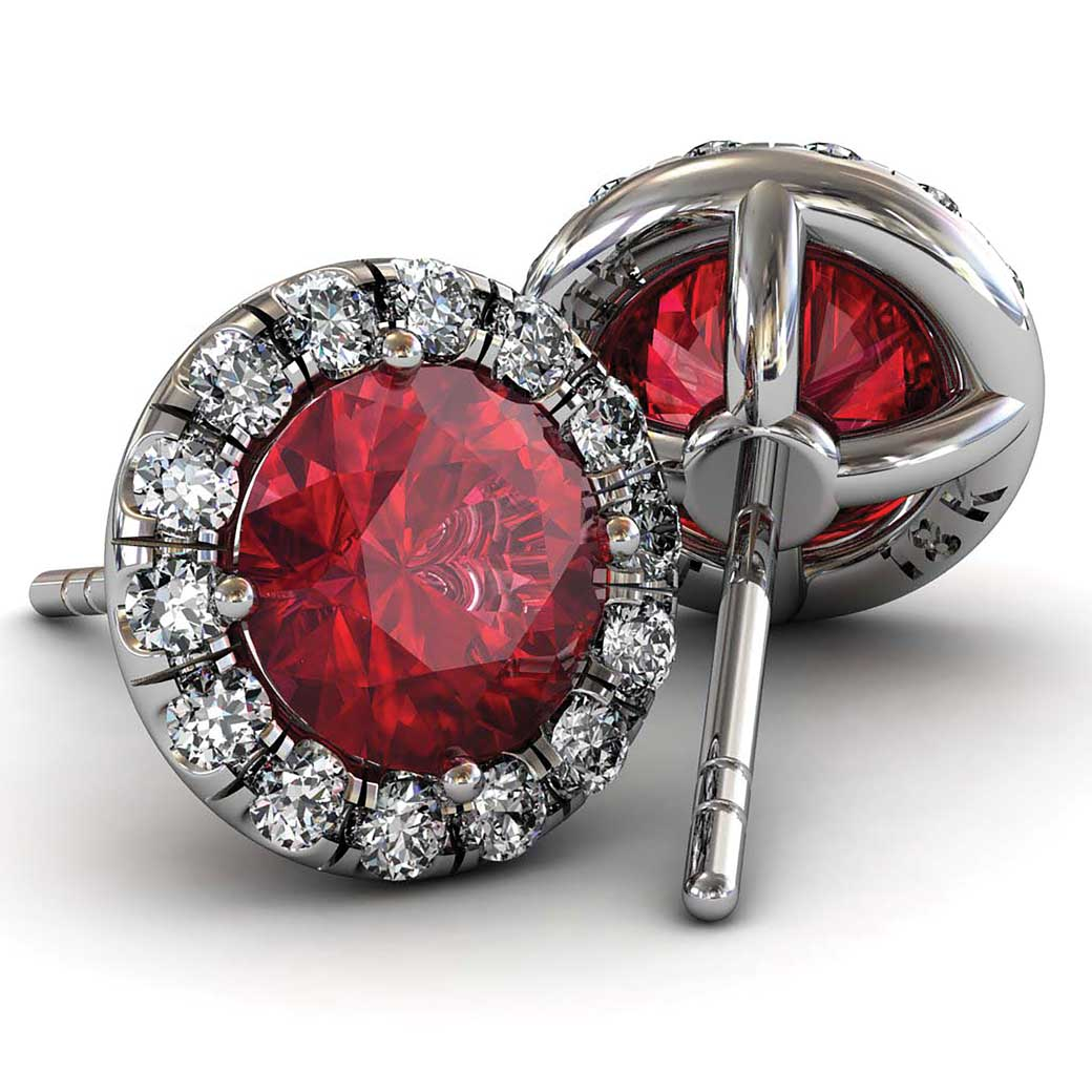Classic U cut Halo Ruby Earrings