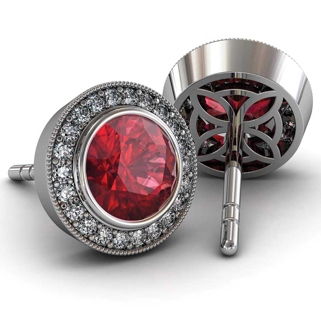 Modern Pave Halo Ruby Earrings - South Bay Gold
