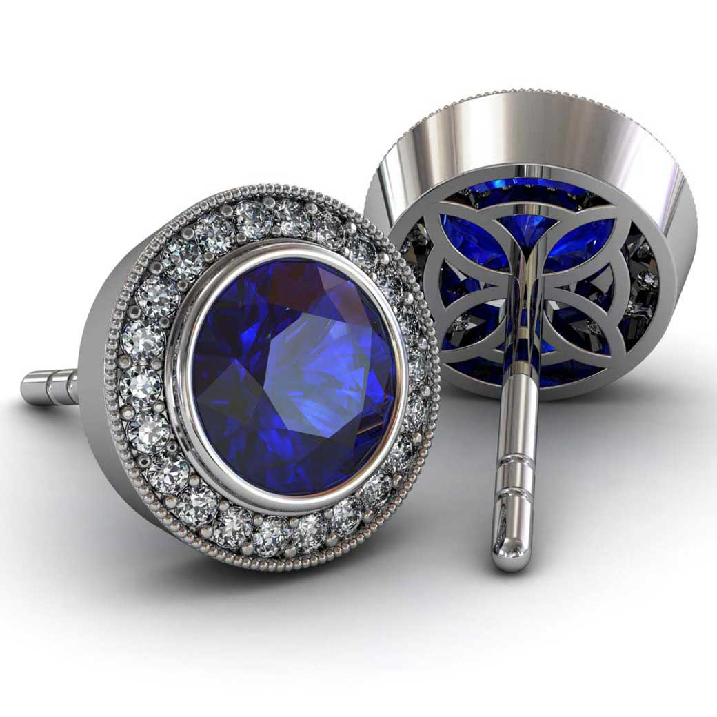 Modern Pave Halo Sapphire Earrings - South Bay Gold