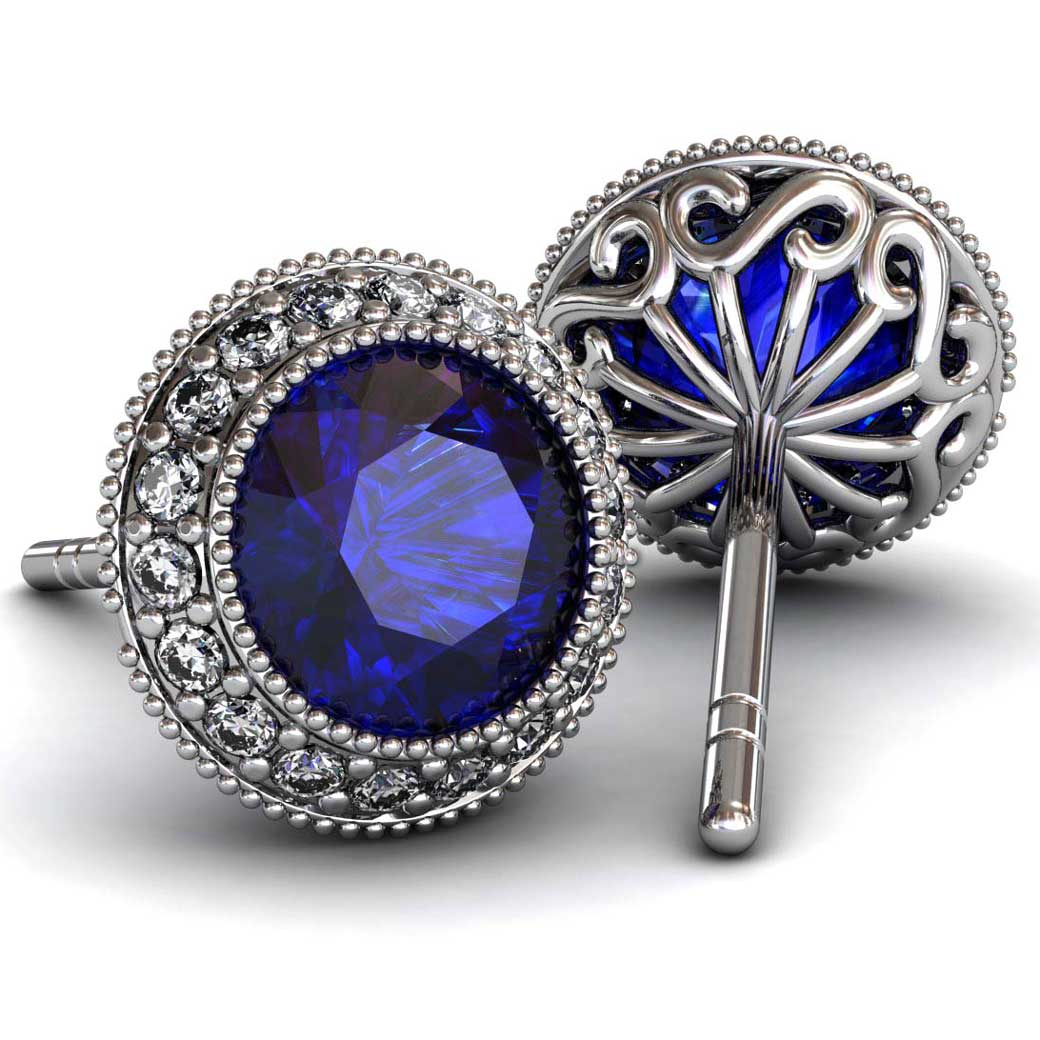 Regal Halo Sapphire Earrings - South Bay Gold