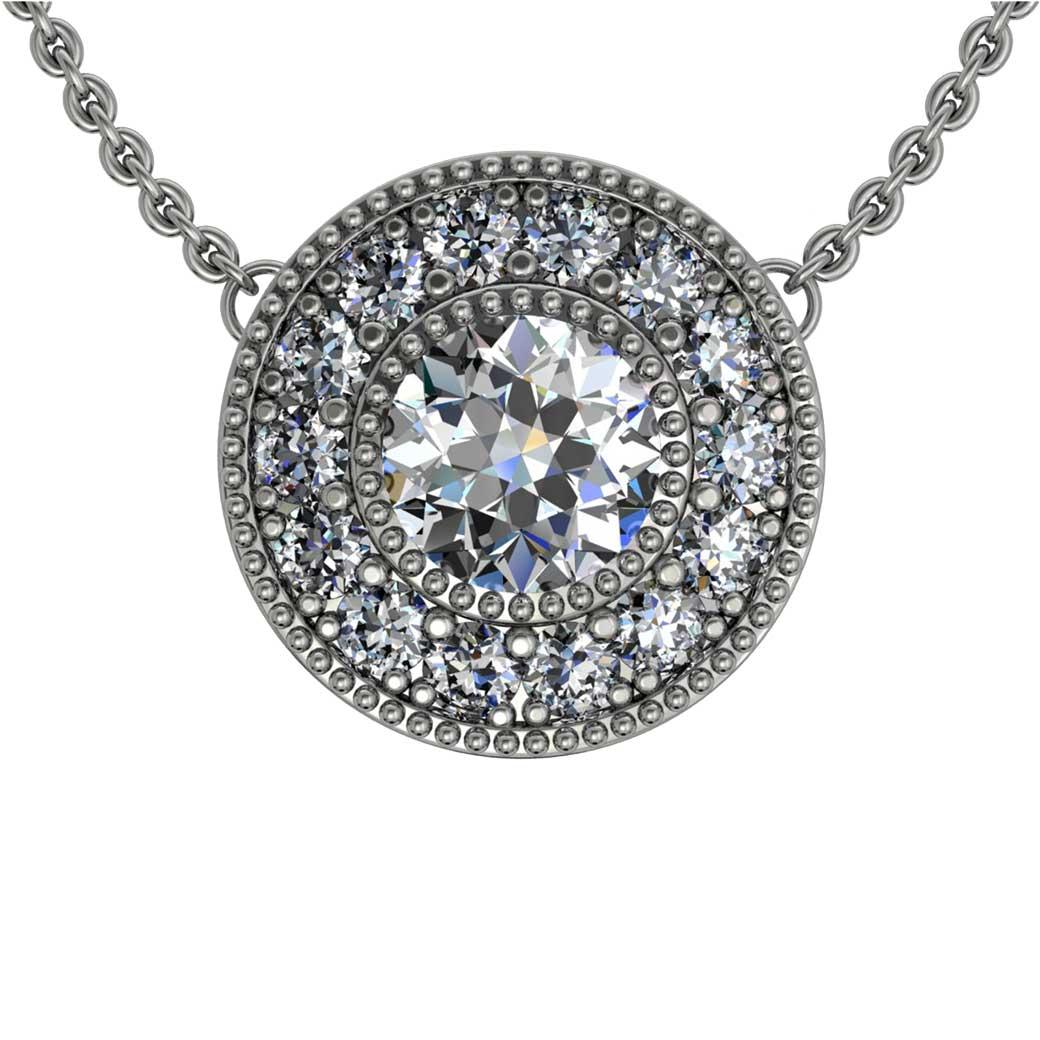Beaded Halo Diamond Pendant - South Bay Gold