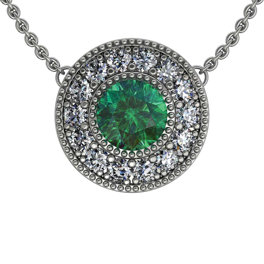 Beaded Halo Emerald Pendant - South Bay Gold