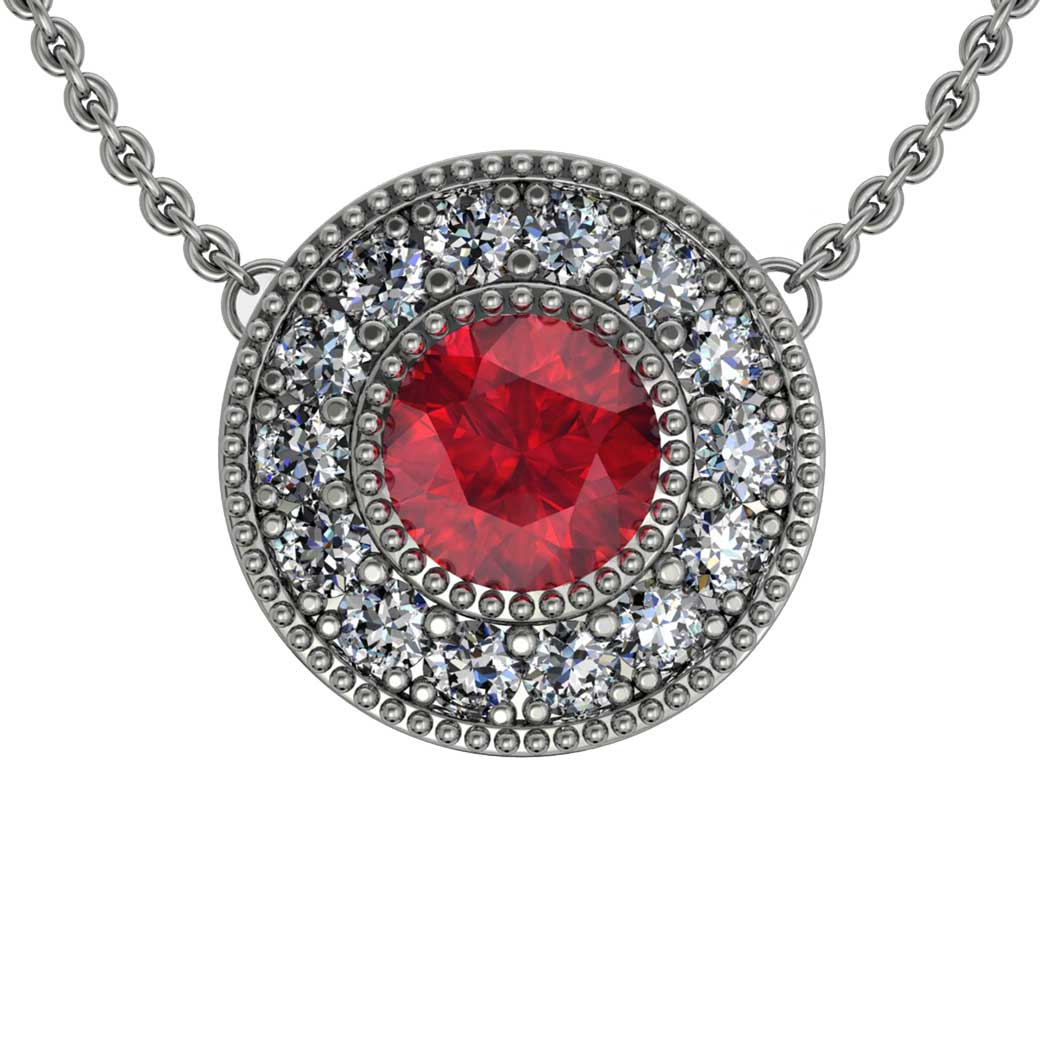 Beaded Halo Ruby Pendant - South Bay Gold