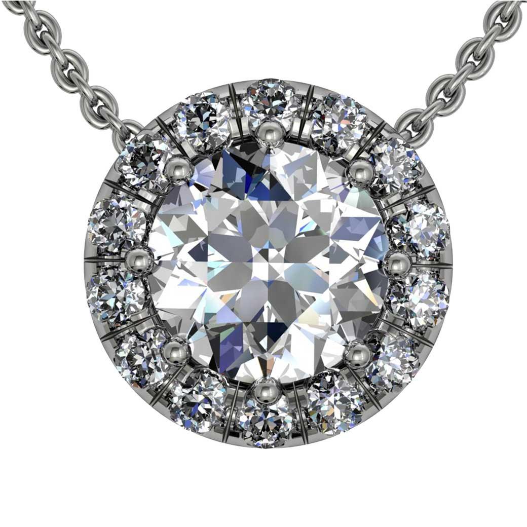 Classical U cut Halo Diamond Pendant - South Bay Gold