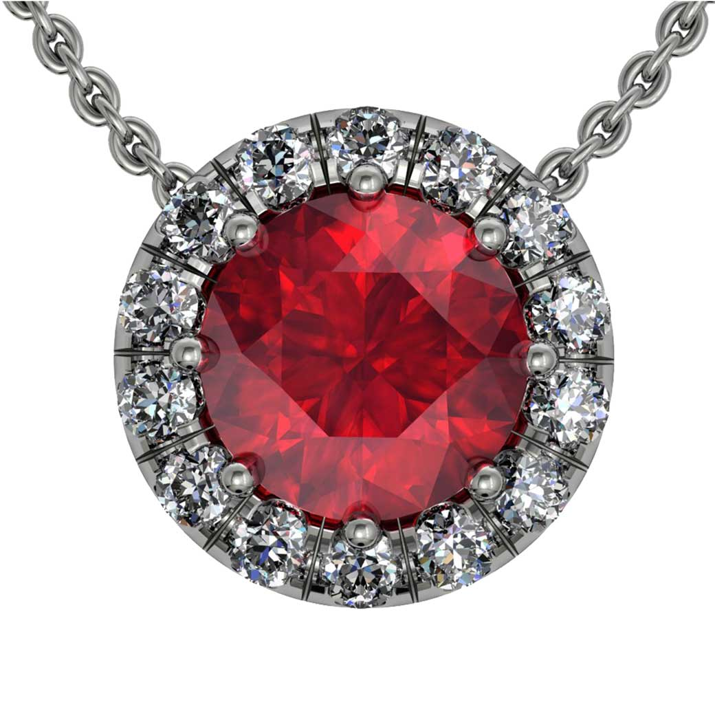 Classic U cut Halo Ruby Pendant - South Bay Gold