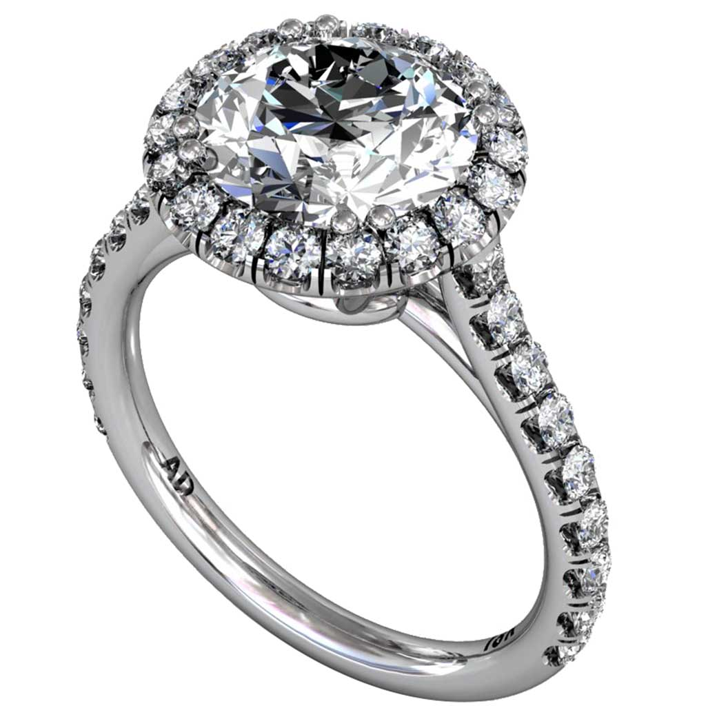 Diamond Classical U-cut Halo Ring - South Bay Gold