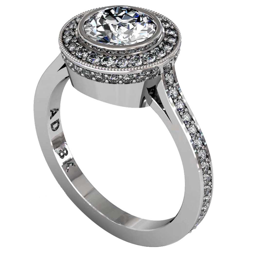 Diamond Modern Pave Halo Ring - South Bay Gold