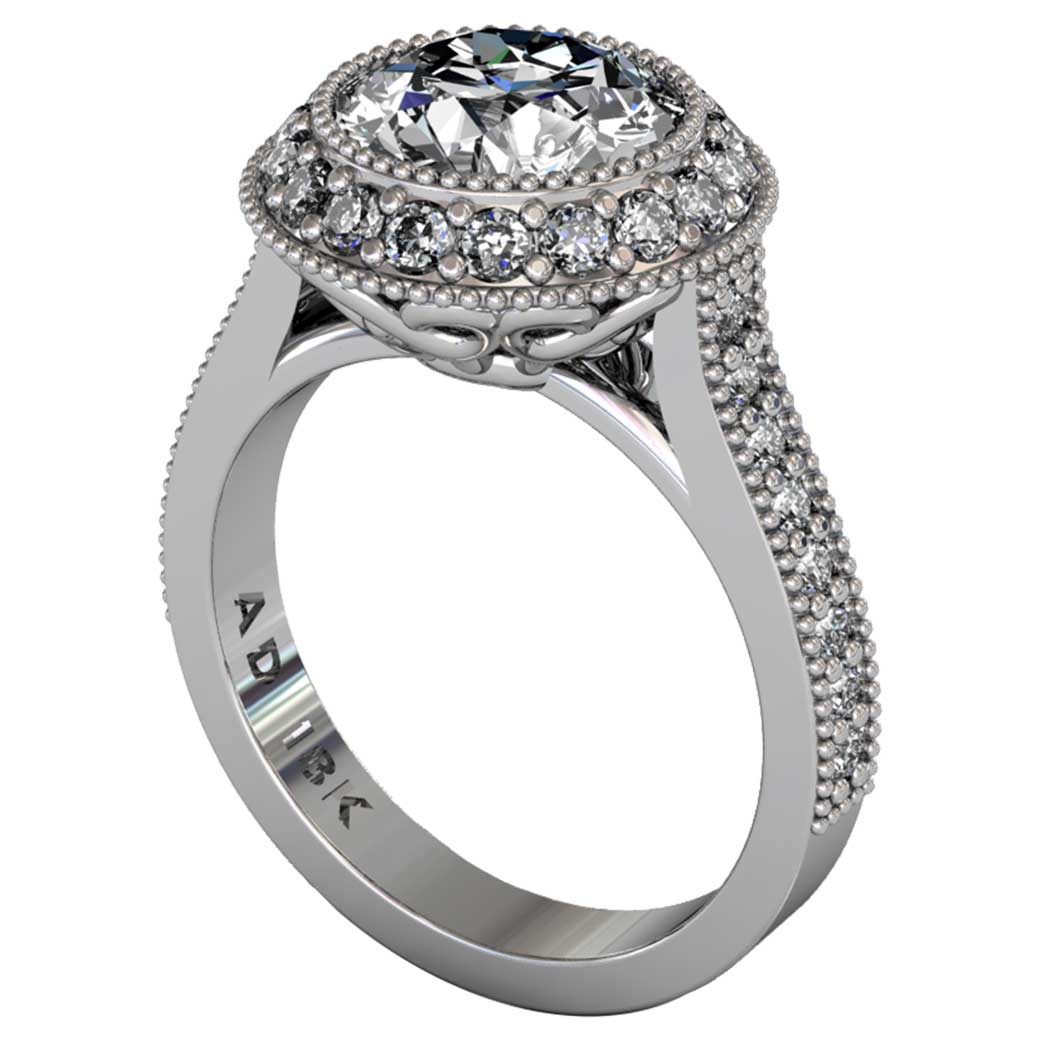 Diamond Regal Halo Shared-Prong Ring - South Bay Gold