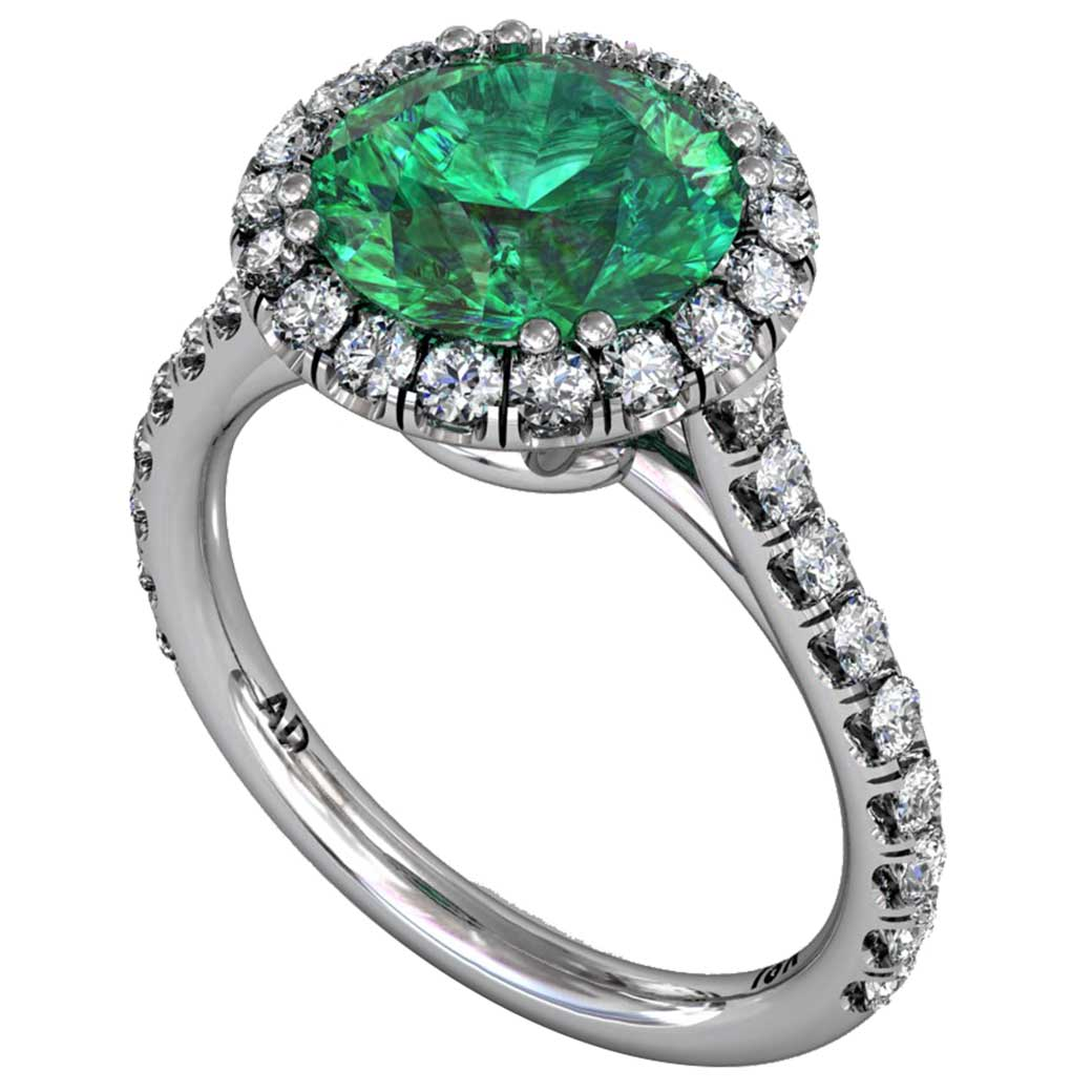 emerald classical u cut halo ring