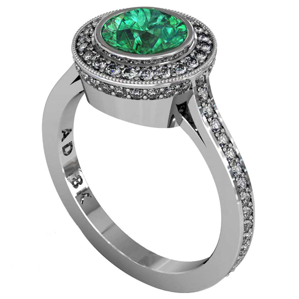Emerald Modern Pave Halo Ring - South Bay Gold