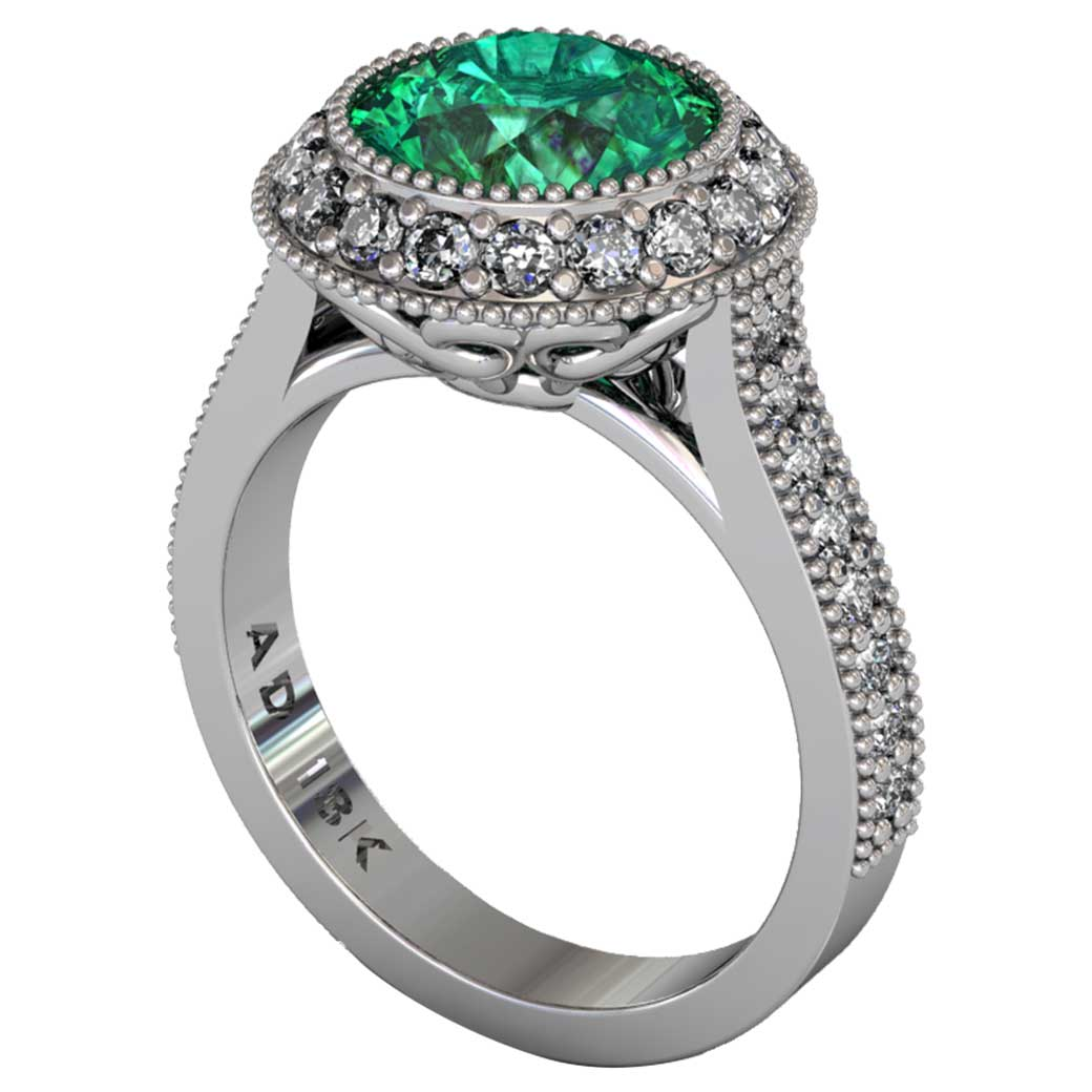 Emerald Regal Halo Shared-Prong Ring - South Bay Gold