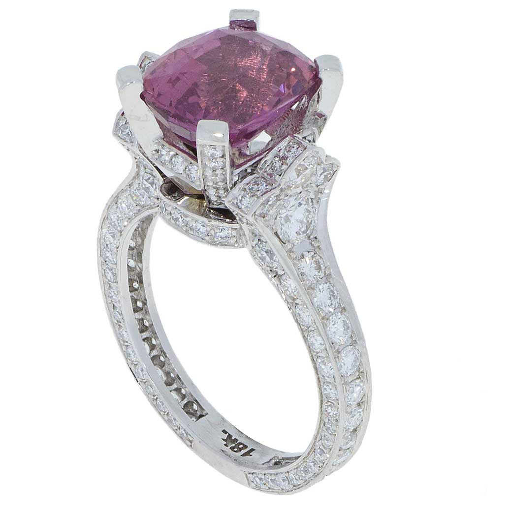 Pink Sapphire Diamond White-Gold - Adamantine - South Bay Gold