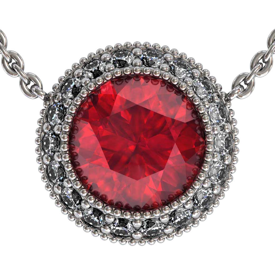 Regal Halo Ruby Pendant Shared-Prongs - South Bay Gold