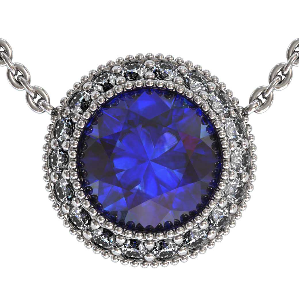 Regal Halo Sapphire Pendant Shared-Prongs - South Bay Gold
