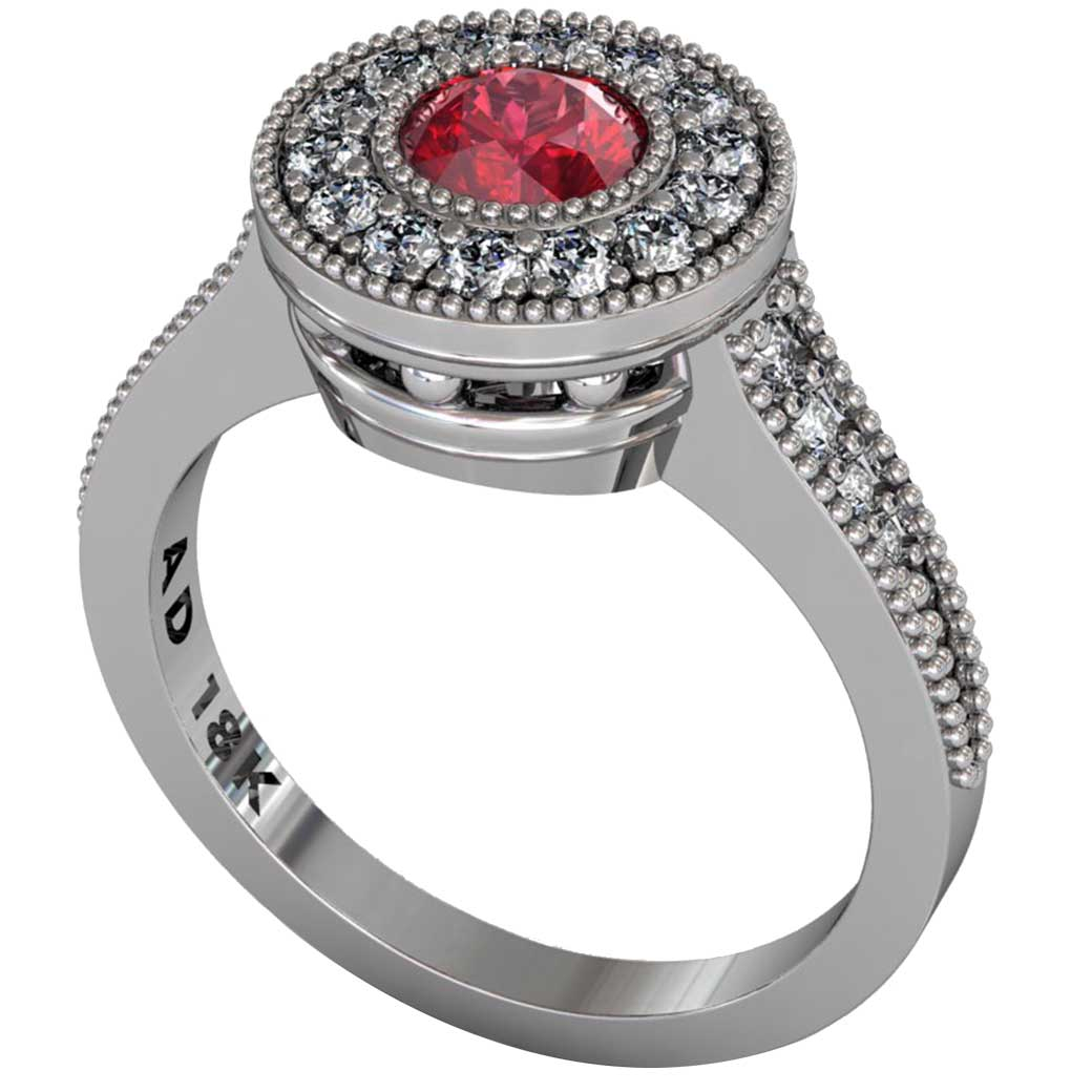 Ruby Beaded Halo Ring - South Bay Gold