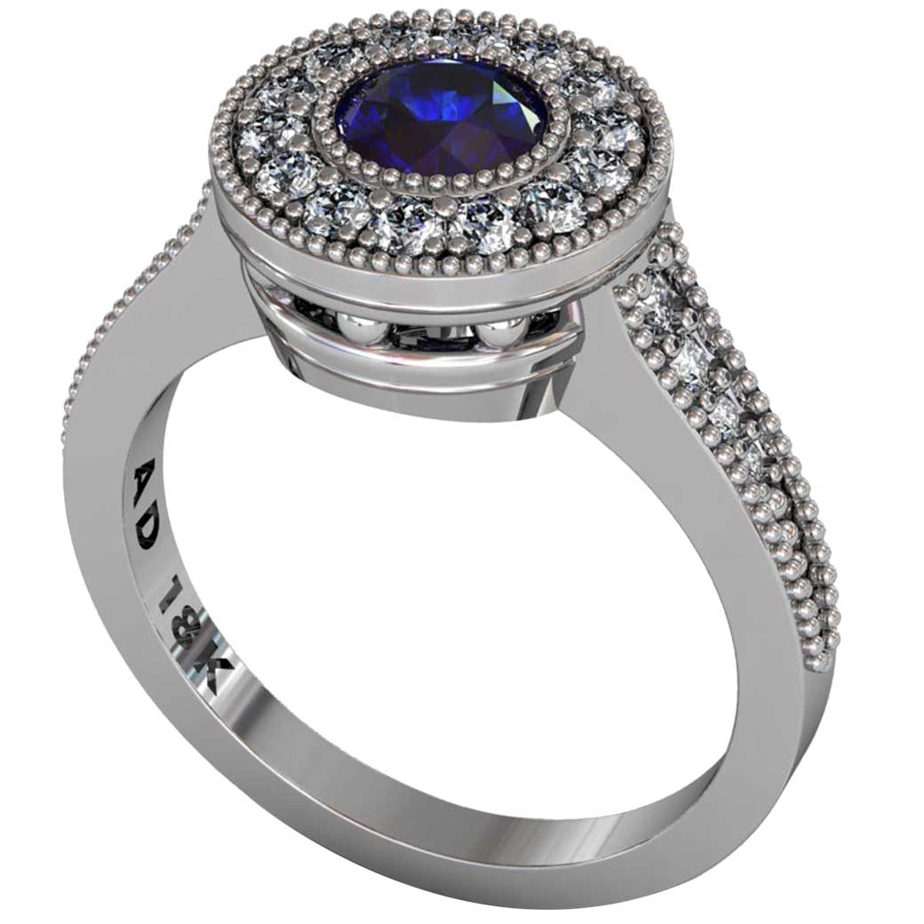 Sapphire Beaded Halo Ring - South Bay Gold