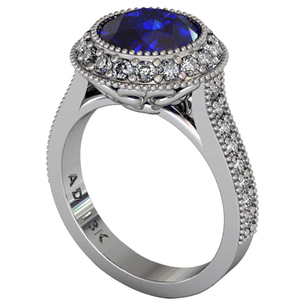 Sapphire Regal Halo Shared-Prong Ring - South Bay Gold