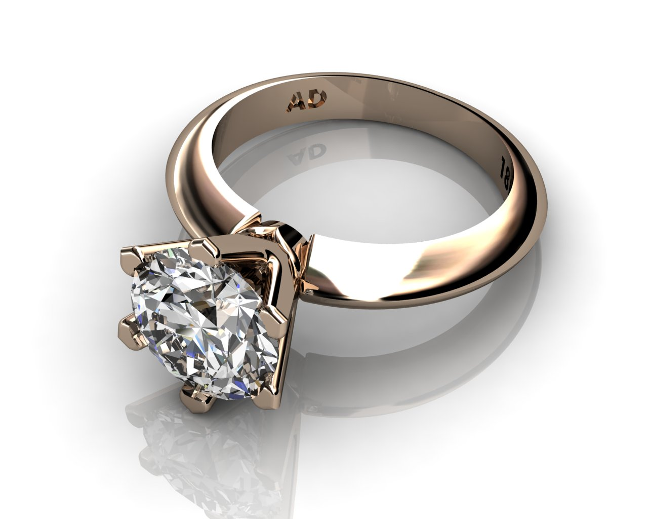 Diamond Solitaire Engagement Ring Round Cut 2.50ct Diamond 6 PRONGS 6gr 18kt Rose gold - South Bay Gold Torrance