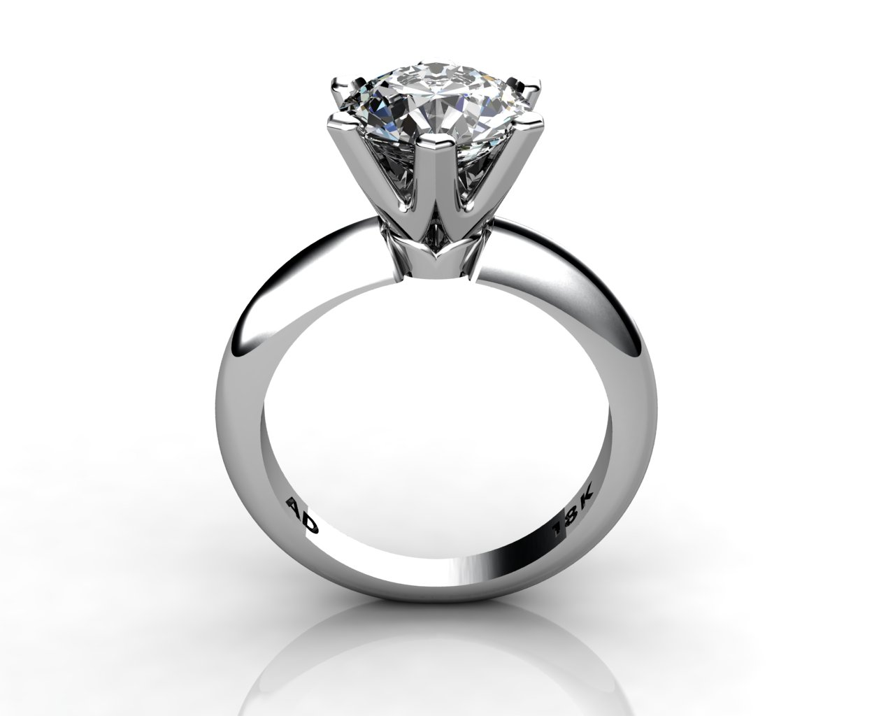 Diamond Solitaire Engagement Ring Round Cut 2.50ct Diamond 6 PRONGS 6gr 18kt White Gold - South Bay Gold Torrance