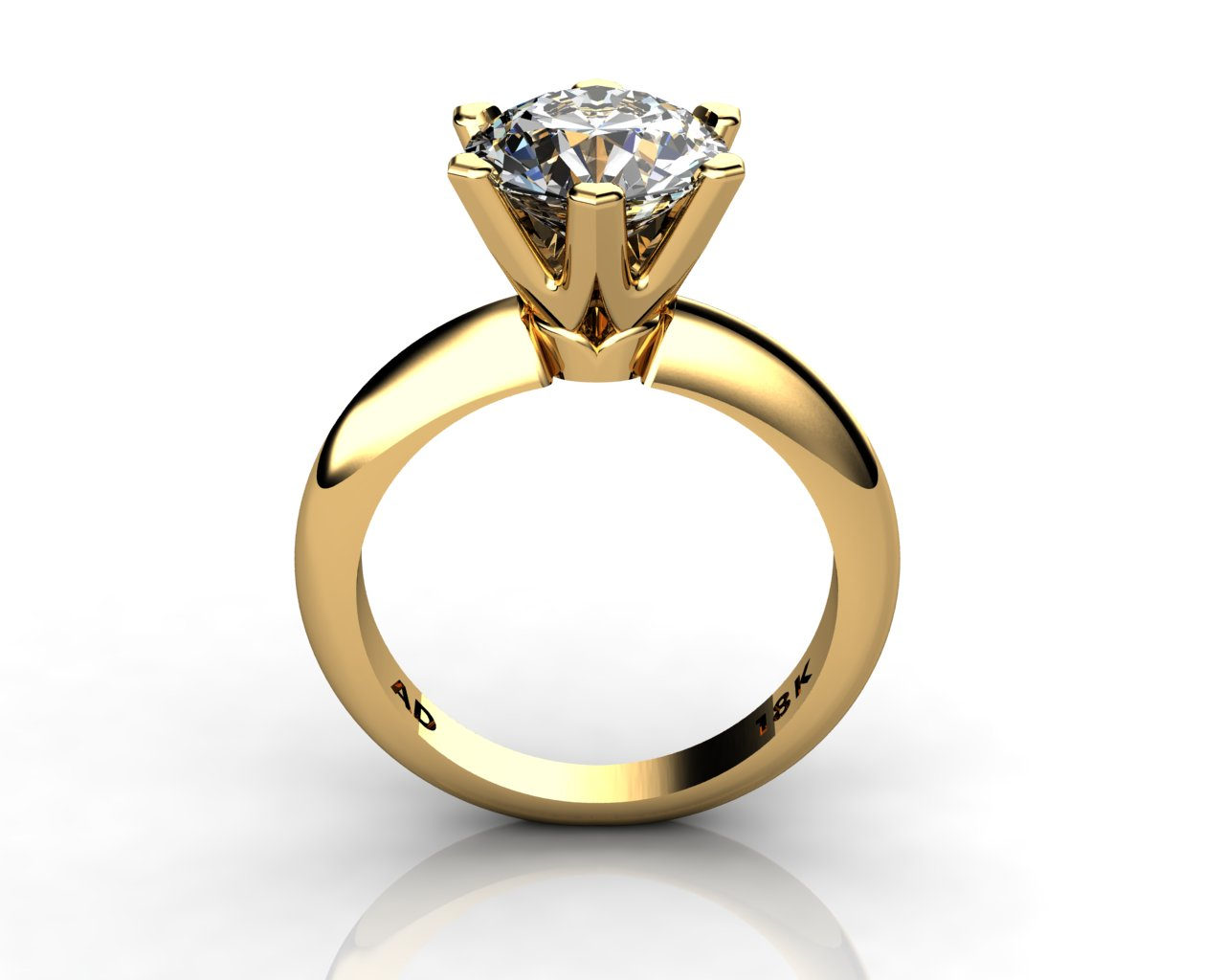Diamond Solitaire Engagement Ring Round Cut 250ct Diamond 6 PRONGS 6gr 18kt Yellow Gold
