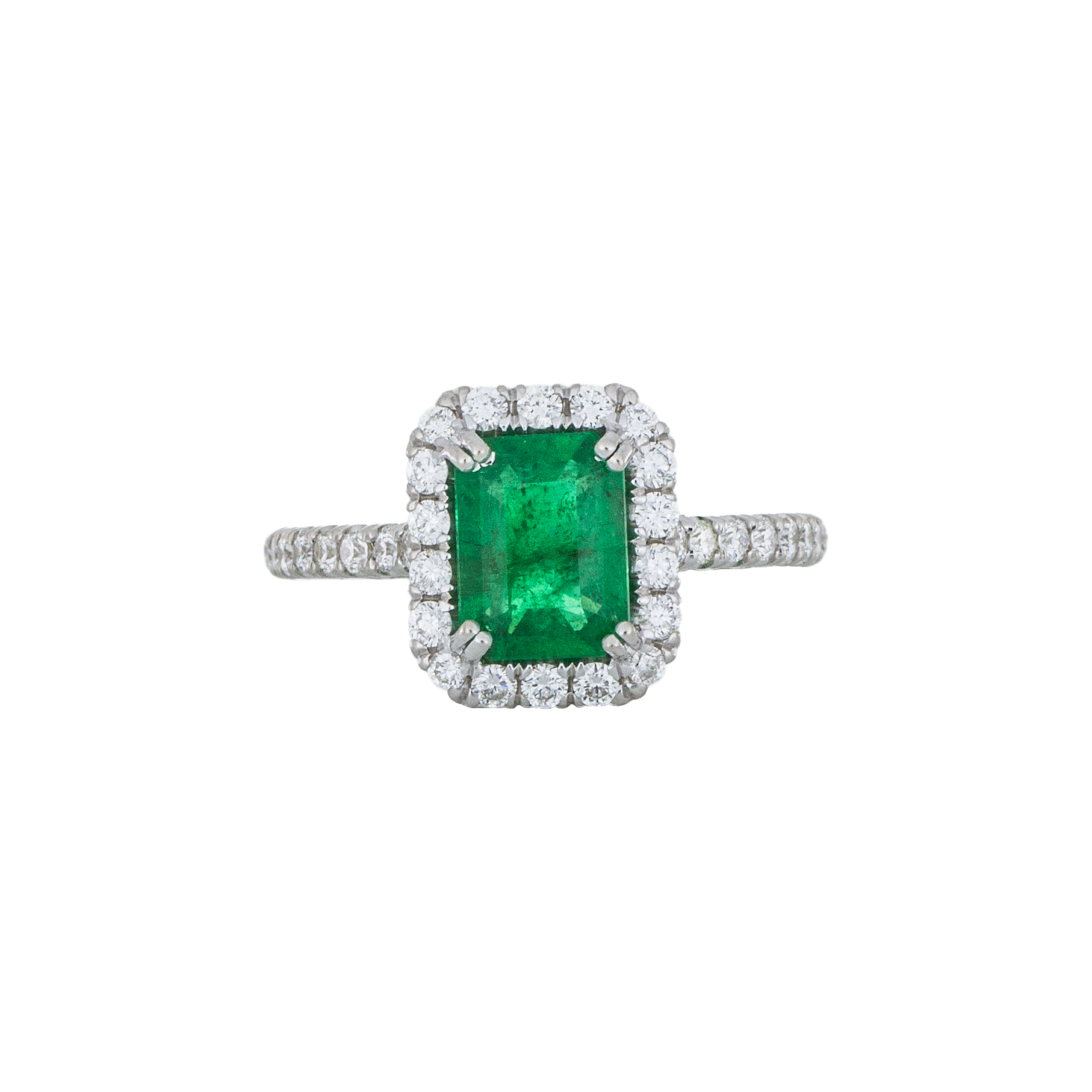 Emerald Diamond Halo Engagement Ring - White Gold - Afghan, Persian, Irish, Turkish