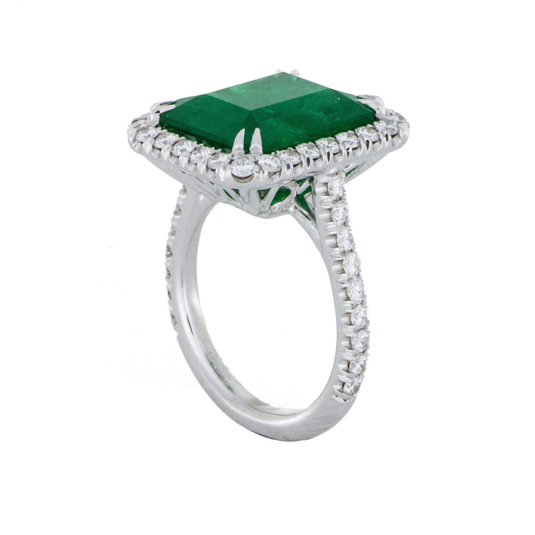 emerald halo ring white gold sbg los angeles
