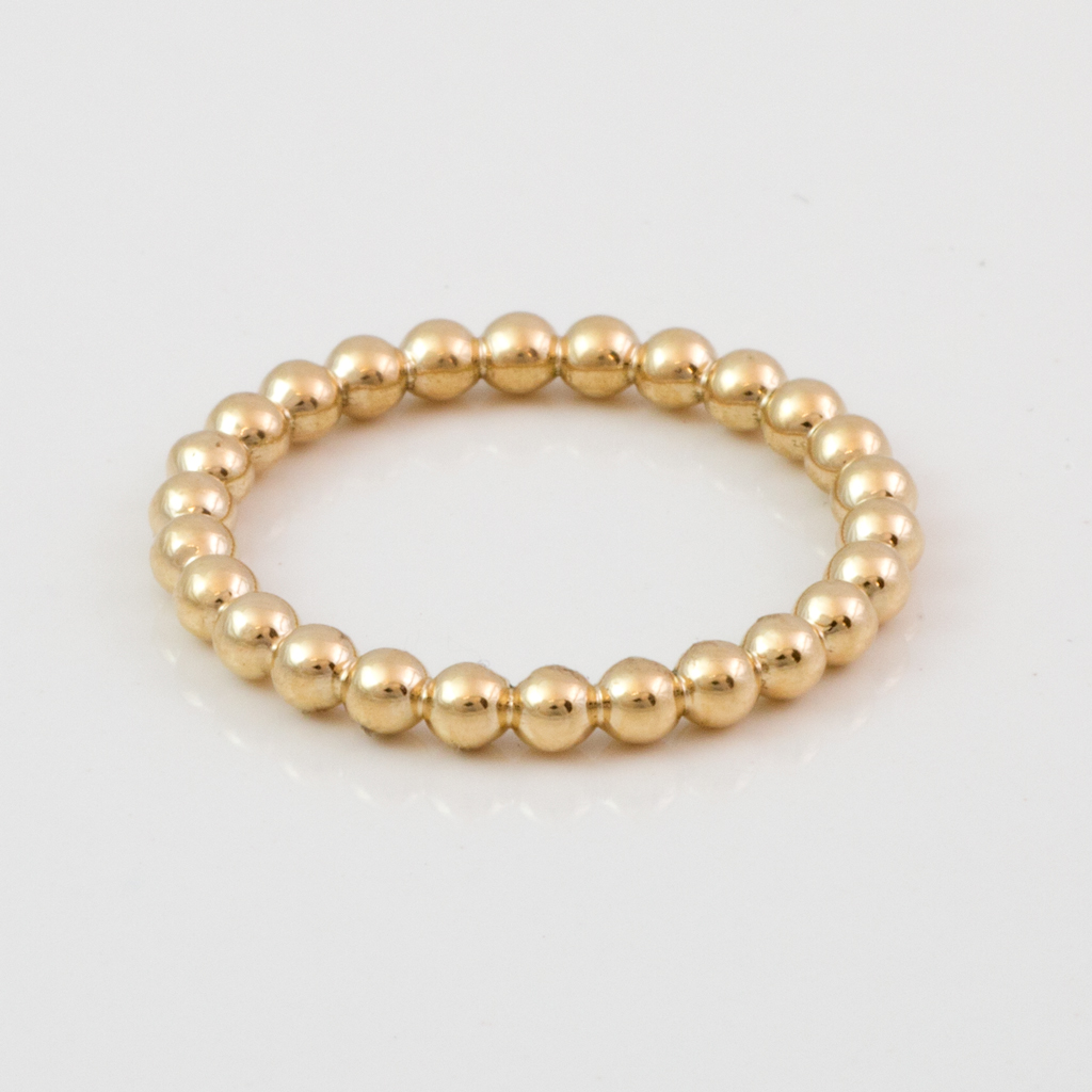 Fleur De Lis Yellow Gold Beaded Stackable Band -34- South Bay Gold Black Friday Del Amo Jewelry sale -1a