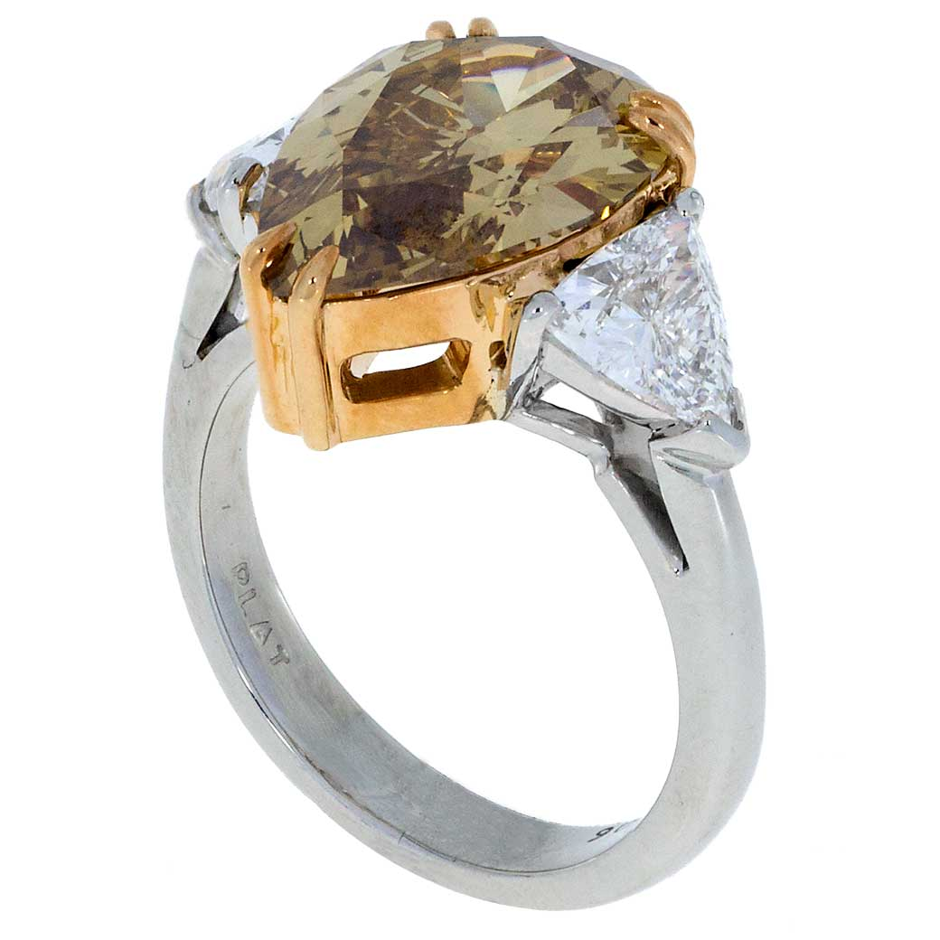 Pear Cut Champagne Diamond Ring Platinum South Bay Gold
