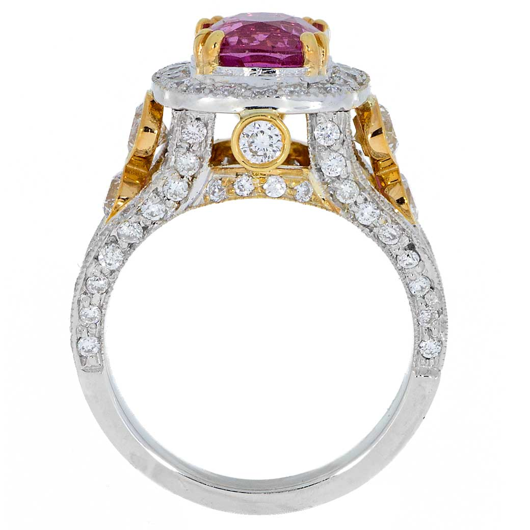 Pink Sapphire Diamonds Two Tone Gold Ring - SBG - SouthBay Gold - Compare with Kay Jewelers