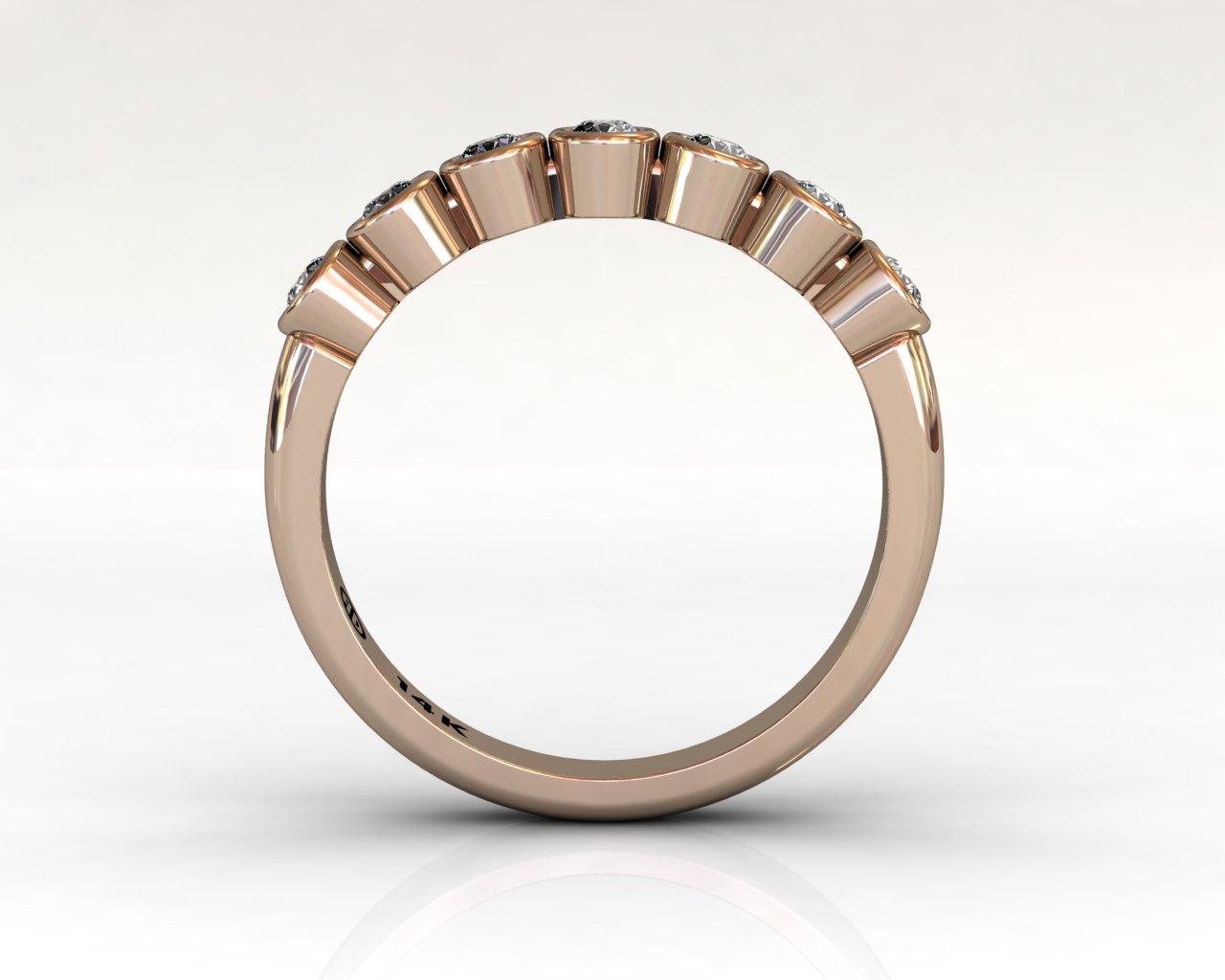 Wedding Bands Ladies 7 Stone Bezel Diamonds 0.29 TCW 14kt 3.17g Rose Gold South Bay Gold
