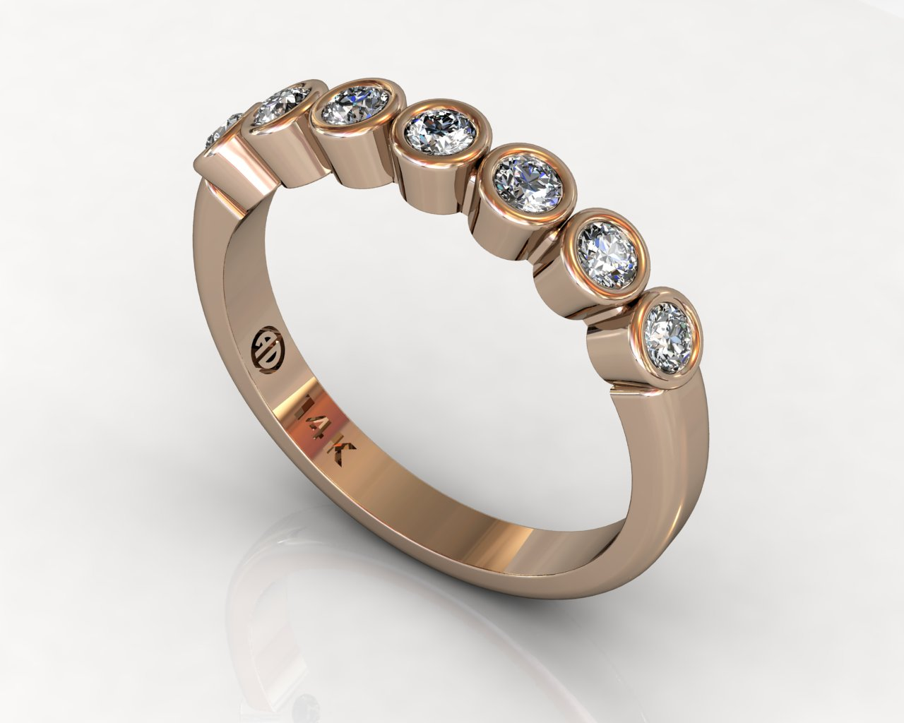 Wedding Bands Ladies 7 Stone Bezel Diamonds 0.29 TCW 14kt 3.17g Rose Gold South Bay Gold