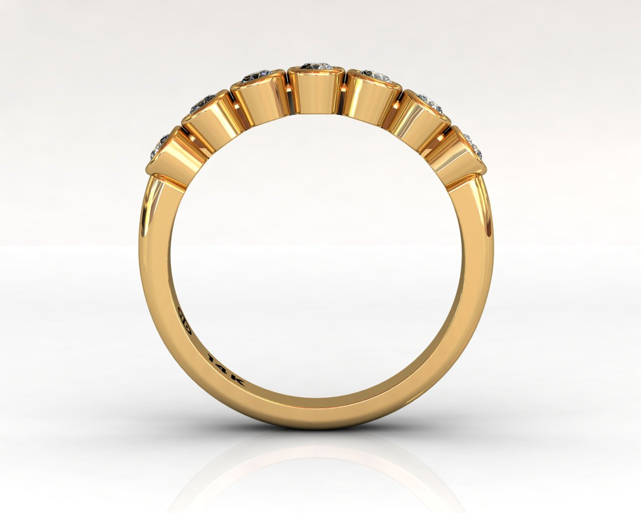 Wedding Bands Ladies 7 Stone Bezel Diamonds 0.29 TCW 14kt 3.17g Yellow Gold South Bay Gold