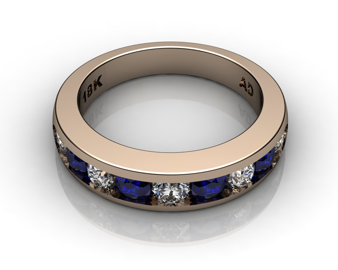 Wedding Bands Ladies Channel 9 Stone 10 TCW Diamonds And Blue Sapphire 61g 18kt Rose Gold